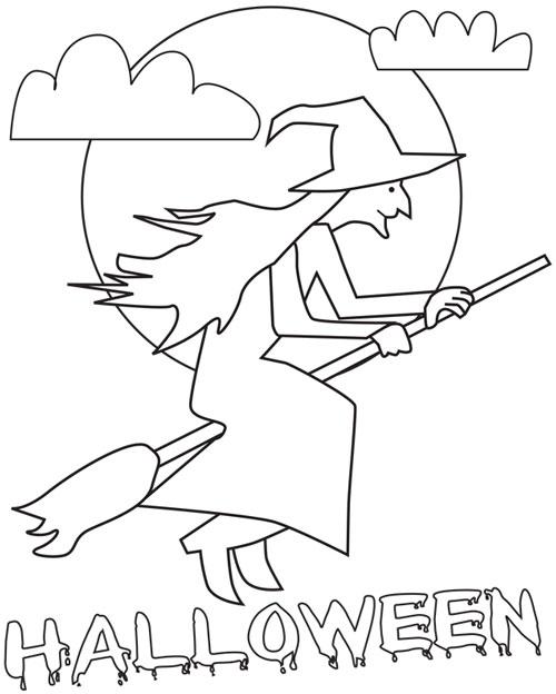kolorowanki halloween  wiedźma i napis