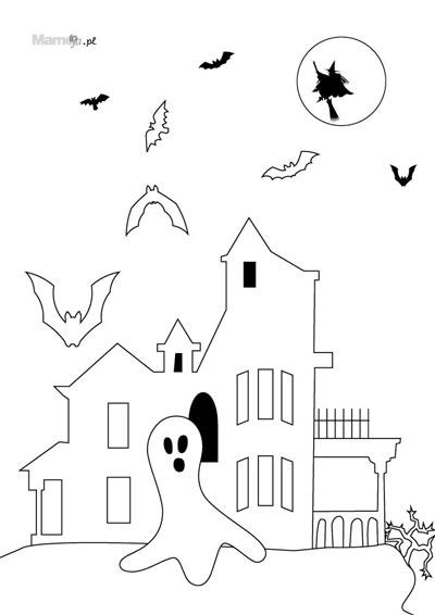 kolorowanki na halloween  zamek