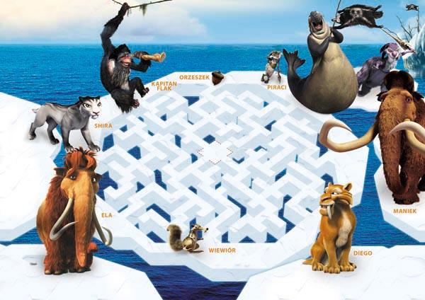 epoka lodowcowa, labirynt, gra dla dziecka, gry dla dzieci