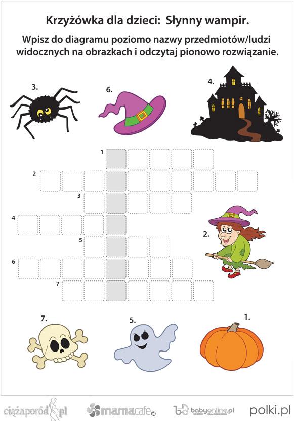 krzyżówka dla dzieci, Halloween, krzyżówka na Halloween