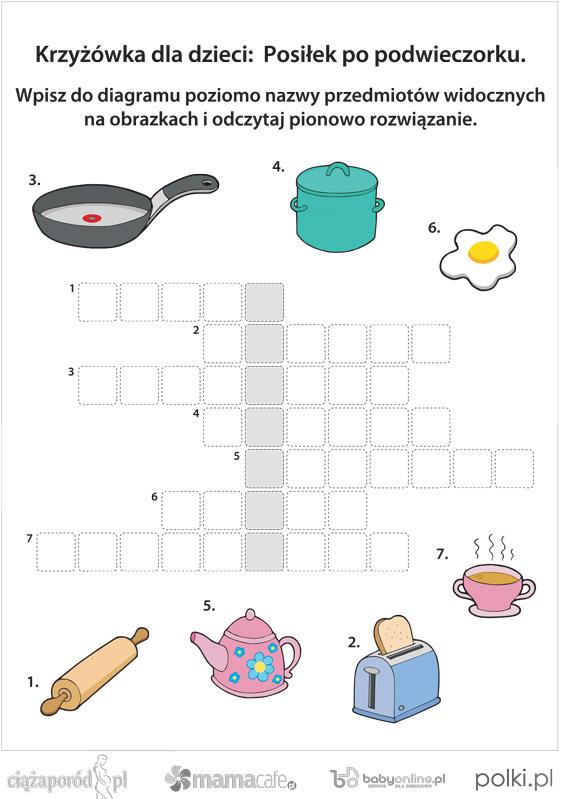 Krzyżówka Dla Dzieci Kuchnia Mamotojapl