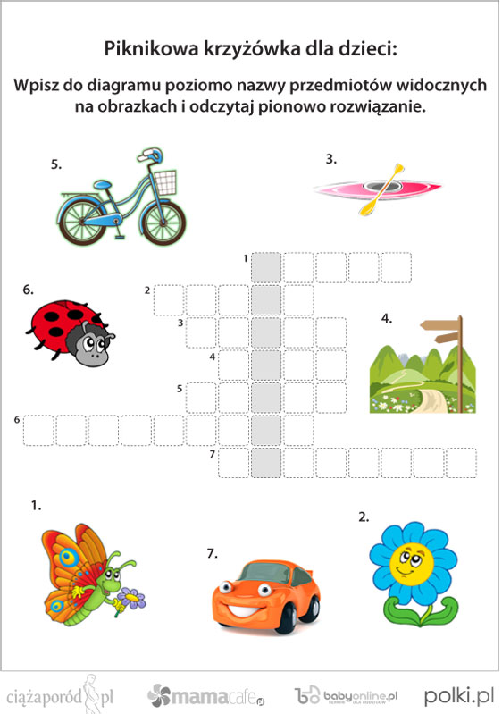 Piknikowa Krzyzowka Dla Dzieci Do Wydruku Mamotoja Pl