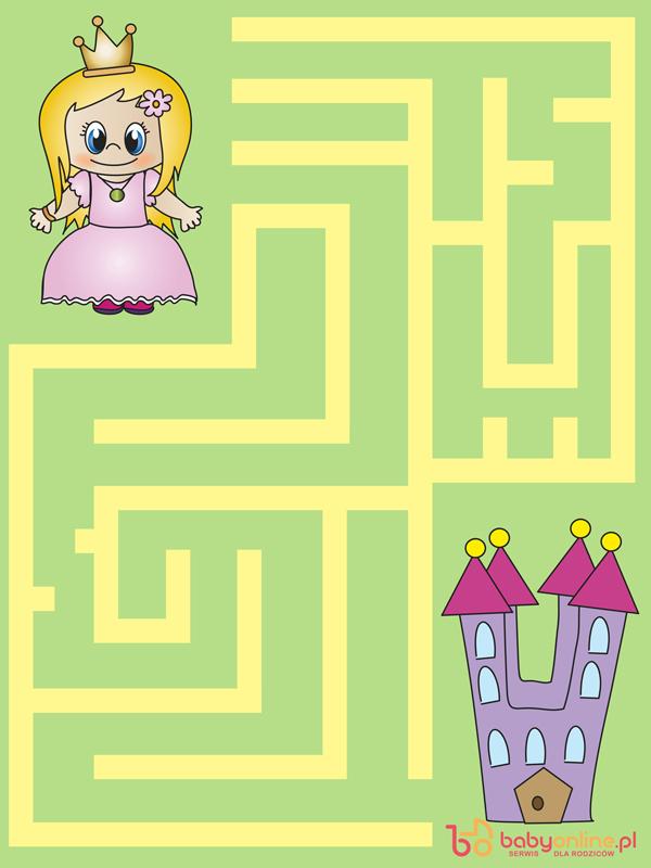 labirynt dla dzieci, labirynt z księżniczką, labirynt do wydruku, gra dla dzieci do druku