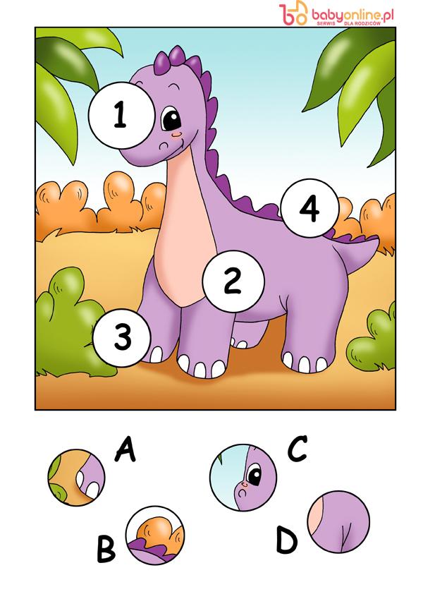 gra logiczna dla dzieci, gra z dinozaurem, gra dla dzieci do druku