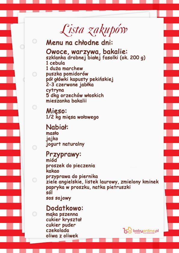 przepisy, lista zakupów, rosół, menu dnia