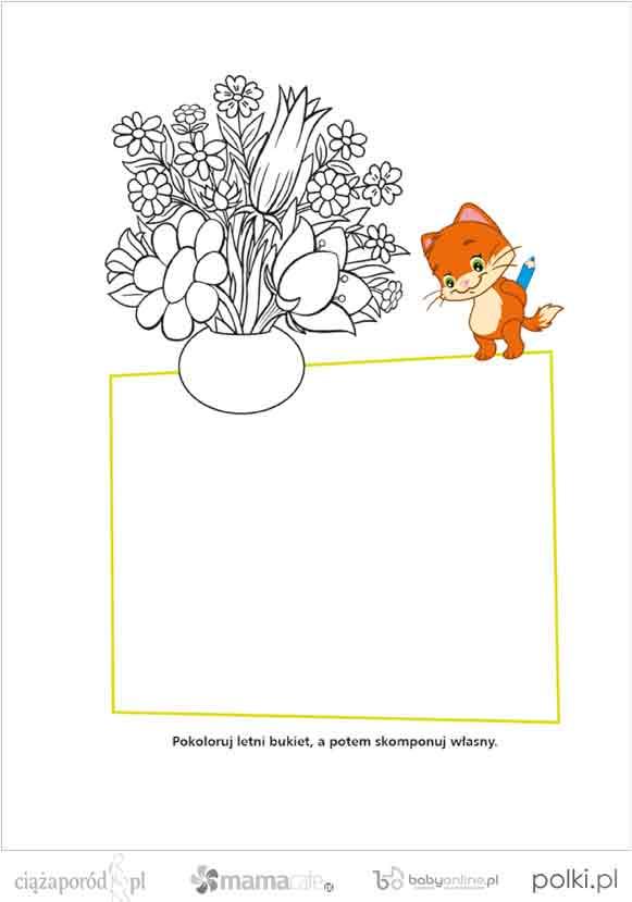 kolorowanka kwiaty, kolorowanki dla dzieci, kolorowanki do wydruku