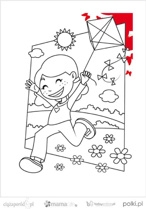 kolorowanka latawiec, kolorowanki dla dzieci, kolorowanki do wydruku