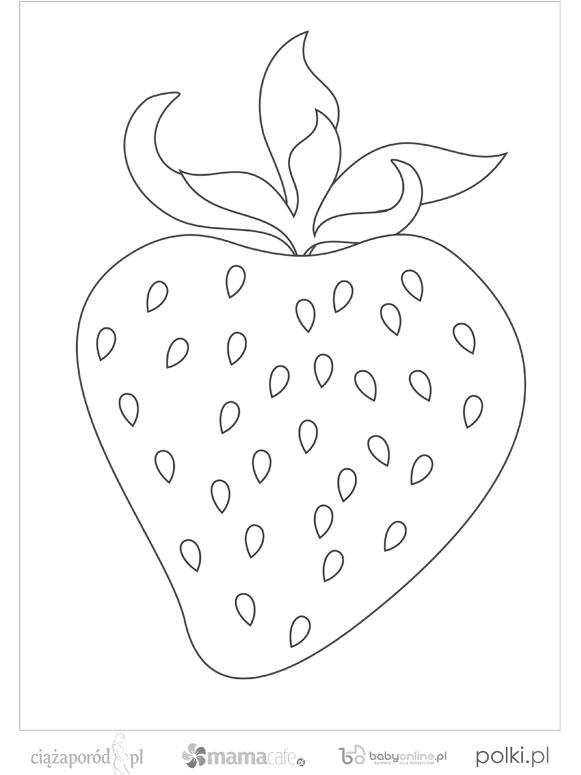 truskawka do kolorowania - wzór do druku