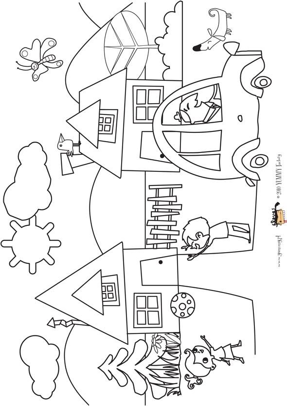 Domki Kolorowanka Dla Dzieci Mamotoja Pl