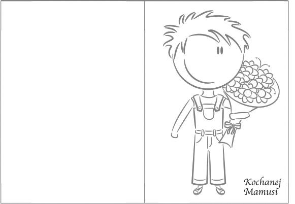 Laurka dla mamy od synka: chłopiec trzymający kwiaty