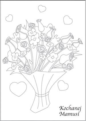 Laurka na Dzień Matki kolorowy bukiet kwiatów