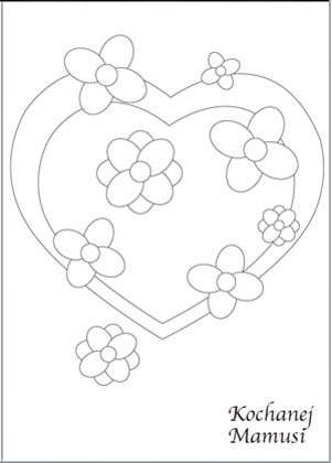 Laurka dla mamy: serca i kwiaty do kolorowania