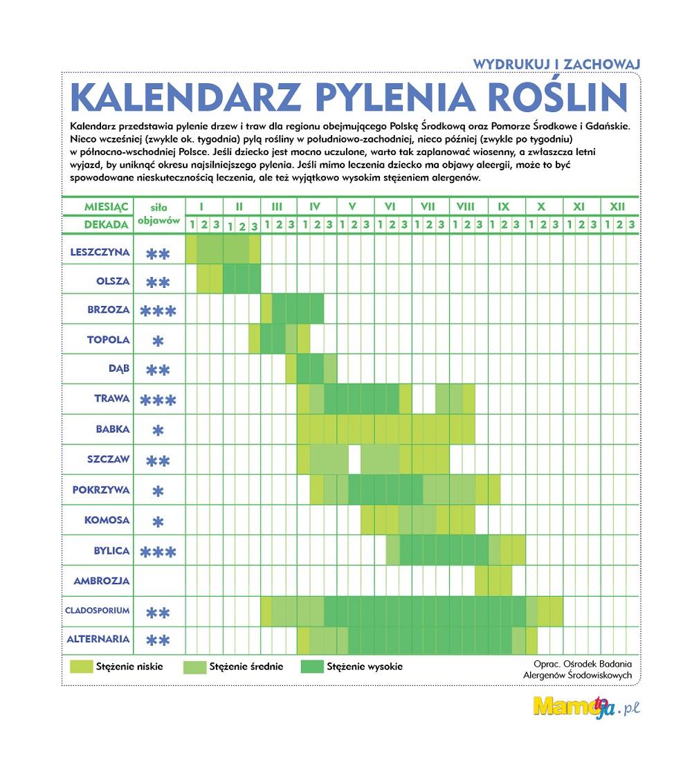 Kalendarz Pylenia Roslin Mamotoja Pl